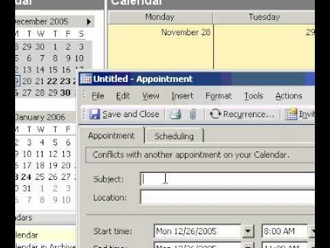 Microsoft Office Outlook 2003 Schedule an appointment