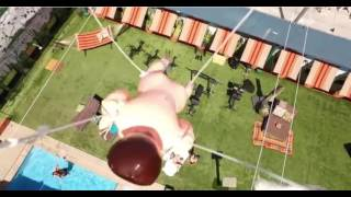 Drone carries Gidget the Midget over the Big Brother backyard