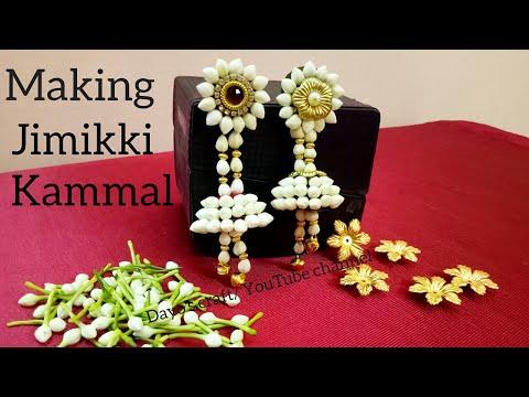 Making Bahubali style easy Flower Jewellery| Jumukkas| step by step making Jimikki kammal