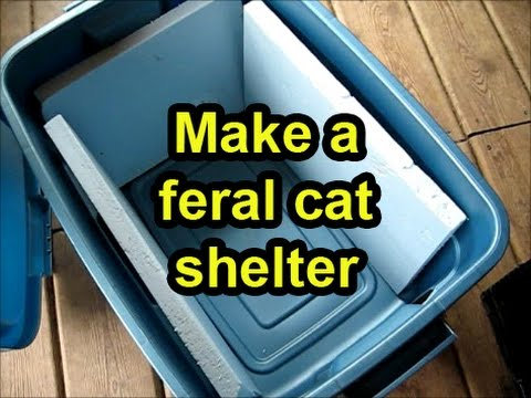 Make a cheap shelter for a feral cat from a plastic tub
