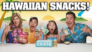 TRYING HAWAIIAN SNACKS!!! Family Snack Challenge - Snack Crate!