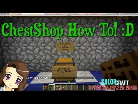 Tutorial On How To Create A Chest Shop Using The ChestShop Plugin Bukkit!