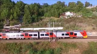 Сочи, Бархатный сезон, пляж 73 км. Поезд Ласточка. С высоты.