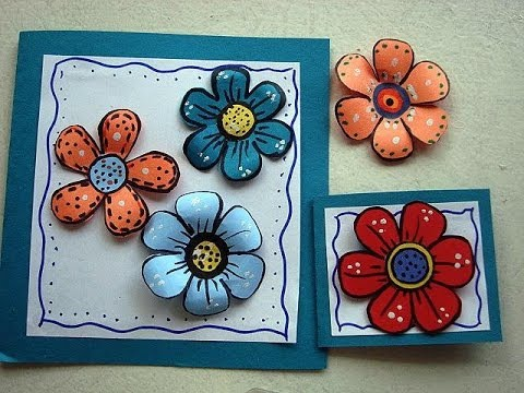 DIY colorful paper flowers for scrapbooking or card making, how to make paper flowers