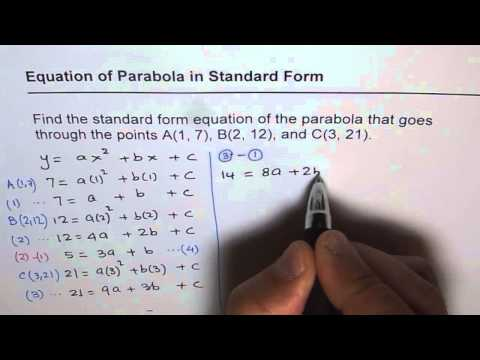 Find Quadratic Equation in Standard Form Given Three Points