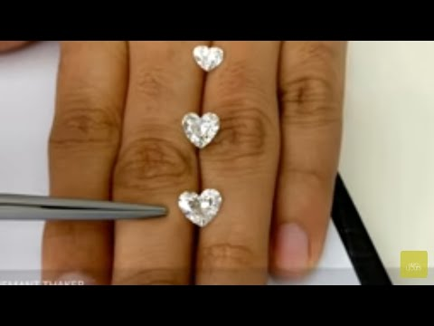 Heart Shape Diamond size Compare on hand 1ct untill 3ct