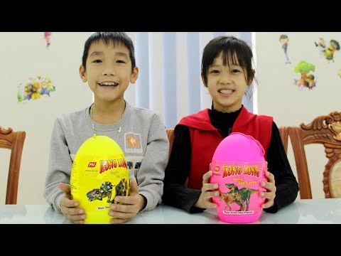 Giant Dinosaur Surprise Eggs Opening with Kids in Toys School