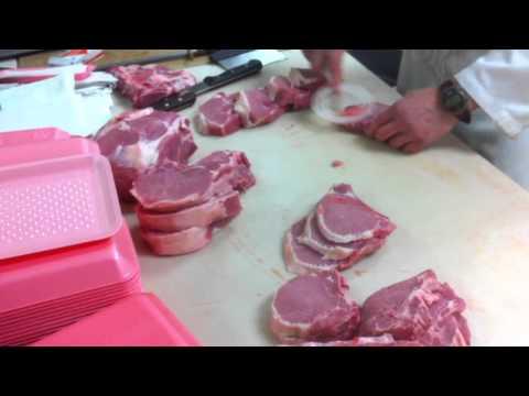 Meat Cutting demo - Pork loin bone in part 1
