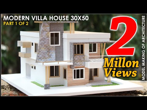 Model making of MODERN ARCHITECTURE VILLA   PART 1 of 2