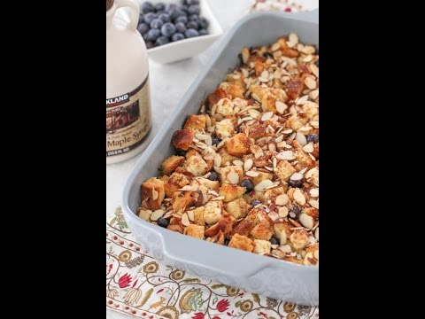 Cream cheese, blueberry and almond French toast casserole