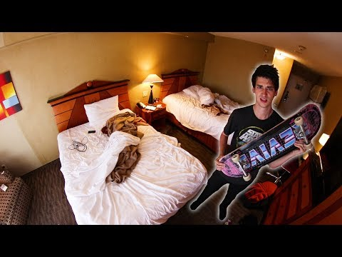 WE SKATED OUR HOTEL ROOM.