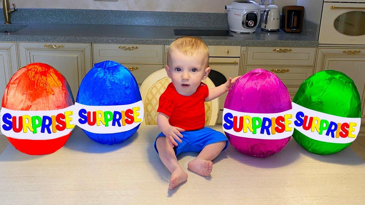 Five Kids Pretend Play Fun with Colored Surprise Children's Videos
