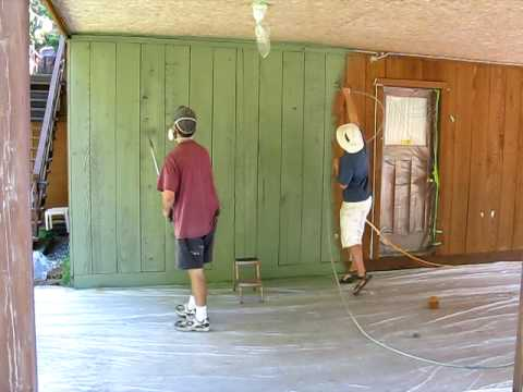 Spraying Cedar Siding with Solid-Coat Stain.avi