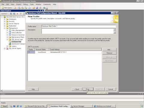 Configure Database Mail in SQL Server 2008