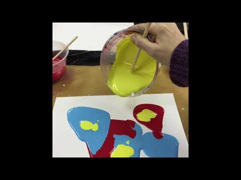 Poured painting with poster paint demo
