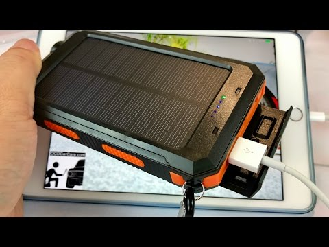 Rugged Solar Charger 10000mAh Portable Power Bank Battery with LED flashlight and compass by Absone