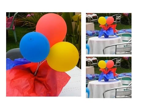 How to make a Red and Blue Balloon Centerpiece for your Party!