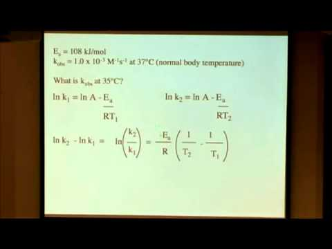 PhyChem Lec 34 Temperature and Kinetics Using the activation energy to predict a rate constant