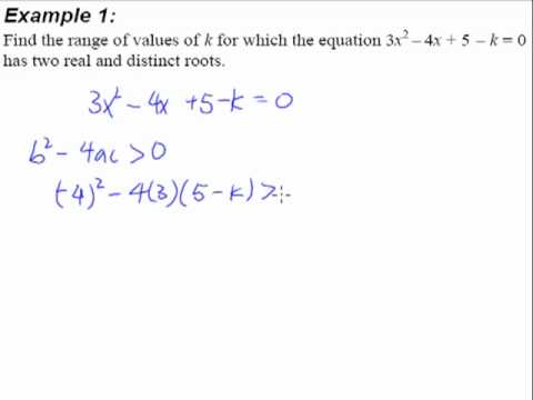 2.  Quadratic Equations and Inequalities - Example 1 (2 Real and Distinct Roots)