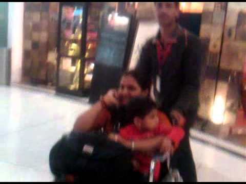 on the wheel chair at delhi airport