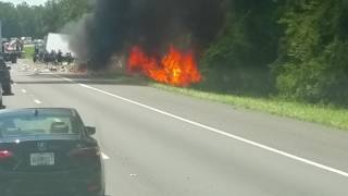 Car fire on Highway just HAPPENED!