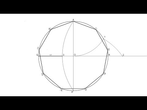 How to draw a regular nonagon inscribed in a circle