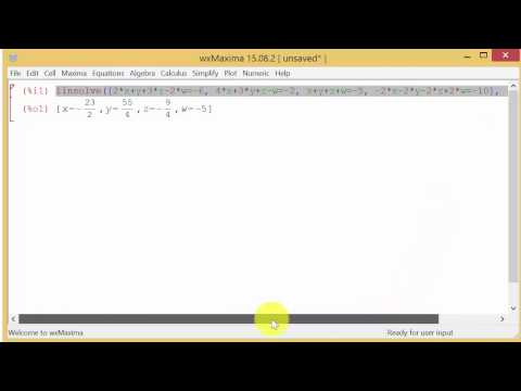 Solving System of Equations Using WxMaxima