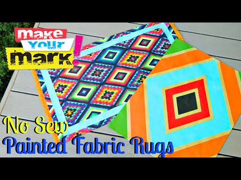 How to: Painted Fabric Rugs DIY (No Sew)