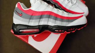 the best attitude 17cfb 42d4b Unboxing and review of the AirMax 95 Essential White, Bright Crimson-Black    Music Jinni