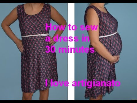 Pregnancy Dress, How to cut and sew in 30 minutes
