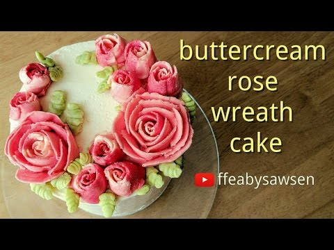 How to make a buttercream rose wreath cake using frozen flowers (Russian tip)