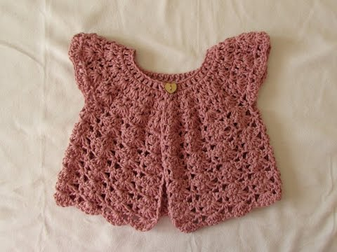 How to crochet a pretty shell stitch cardigan / sweater - baby and girl's sizes