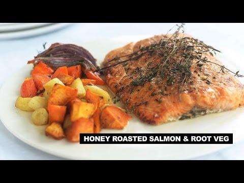 Roasted Salmon w Honey & Fall Root Veg