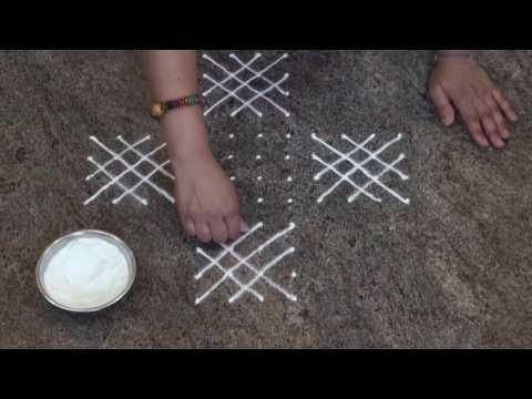Simple And Easy Rangoli/ Daily Rangoli/Chukki Rangoli with 12 dots