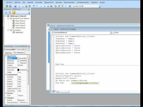 FORMULARIOS EN EXCEL 2007(VBA) . SEGUNDA PARTE