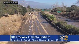 101 Freeway Overrun With Mud, Debris Flows From Montecito; Will Remain Shut Down Through Weekend