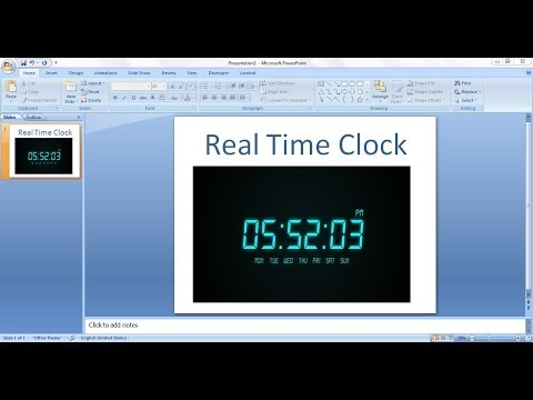How to embed Real Time Clock in Power Point Presentation(Ppt)