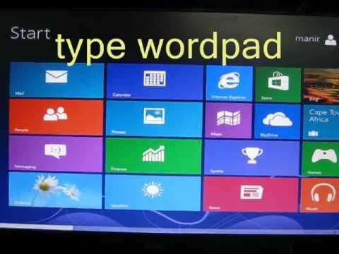 Open Wordpad in Windows 8