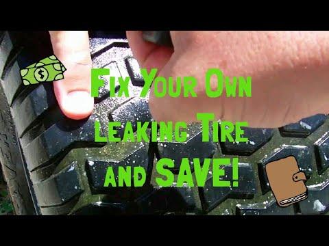 Fixing a flat lawn mower tire