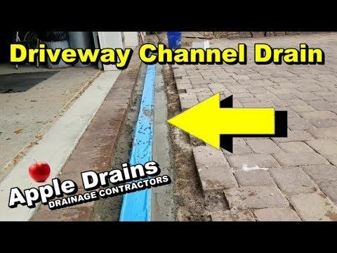 Channel Drain in Paver Driveway, Sump Pump, Patio Drain, French Drain