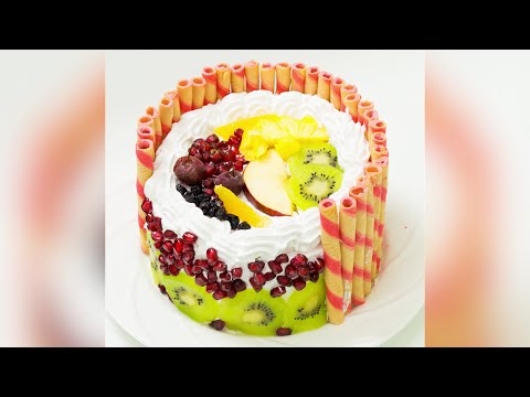 Eggless Fresh Fruit Cake / Fruit Pastry Recipe - Pressure Cooker Cake | Eggless Baking Without Oven