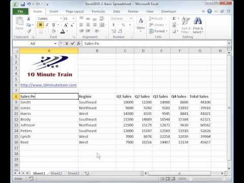 Excel 2010 Tutorial 2:  Create a basic spreadsheet