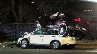 HOW DID THIS HAPPEN?  Massive Donk Lands on Top of Car