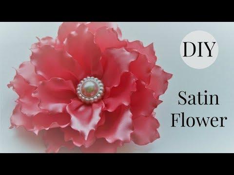 DIY Ribbon Flower hair clip/Satin flower tutorial/Singed Flower