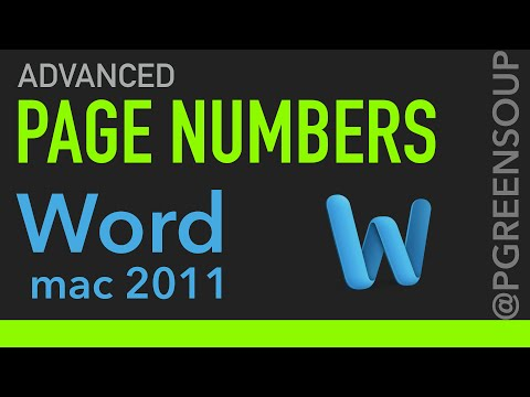 Advanced Page Numbers in Word Mac 2011