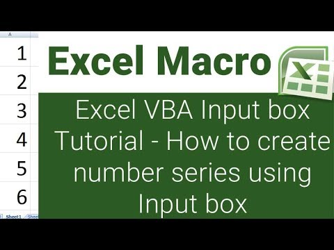 Excel vba input box tutorial - How to create number series using input box