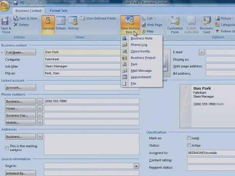 Organizar informações de clientes no Business Contact Manager