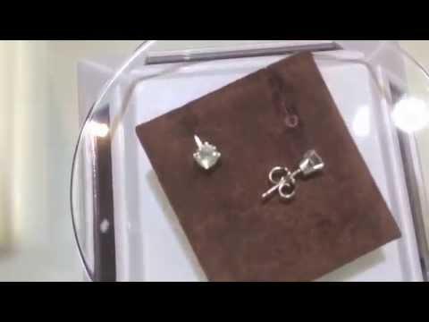 Diamond Stud Earrings On 14K White Gold