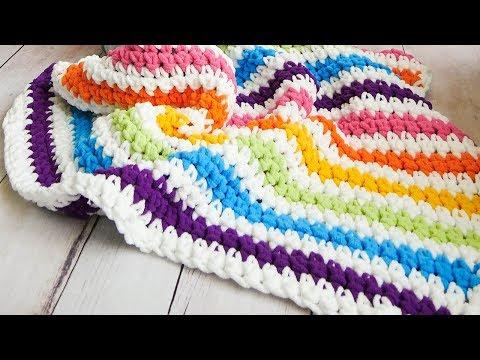 Crochet Rainbow Stripes Baby Blanket - the easiest on YouTube!