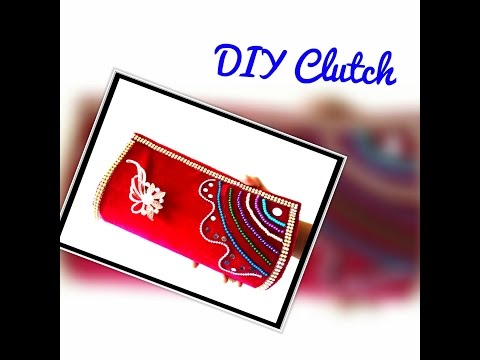 DIY Clutch : How to make clutch using cardboard and velvet cloth